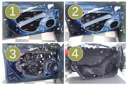 4 слоя шумоизоляции дверей автомобиля